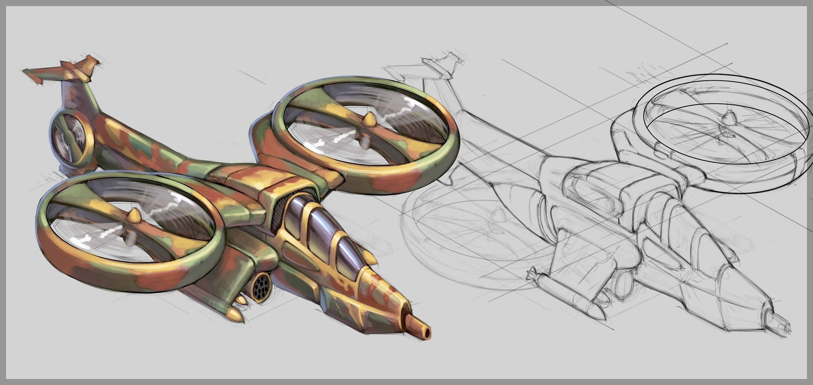 Hunter Helicopter Concept Art 2